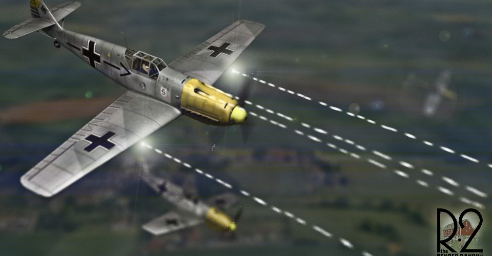"Render for a Dog Figth sequence between 3 German Me109 and an American P-51D Mustang for the ""Currahee"" Film."